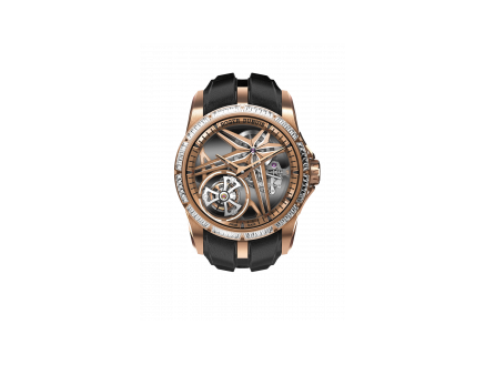 Roger Dubuis Excalibur EX0963, soldat view, Eon gold skeleton watch, with black leather strap and 60 diamonds baguette
